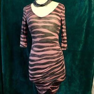 Brand New Pink & Charcoal Zebra Bodycon Dress